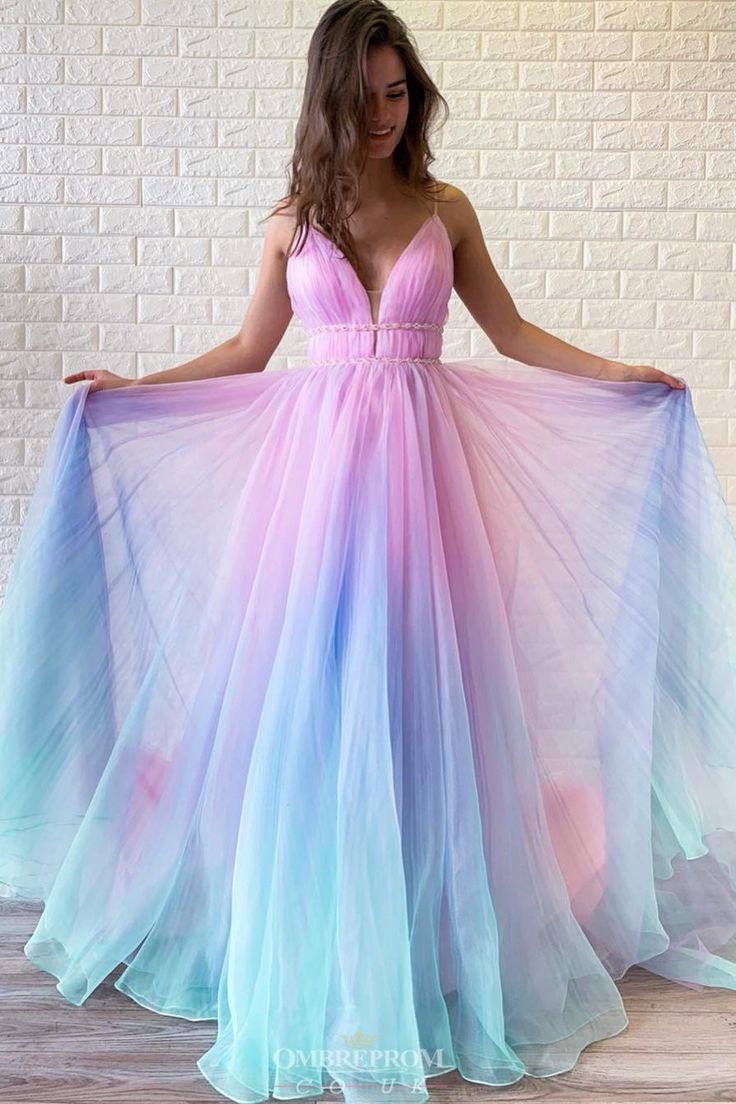 Ombre Long Prom Dress V-neck Beaded Graduation Gown OP646 – #Beaded #Dress #gown…