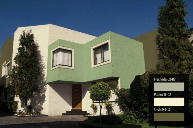 Exteriores de casa verde en pinterest revestimiento de for Fachadas frontales de casas