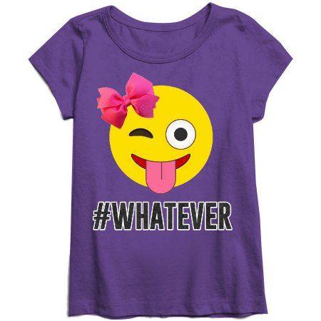 Emoji Girls' #Whatever Short Sleeve Crew Neck Graphic Tee, Size: XS, Purple