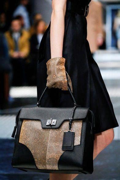 bdec2dd40d Prada Black Brown Lizard Leather Tote Bag  Pradahandbags
