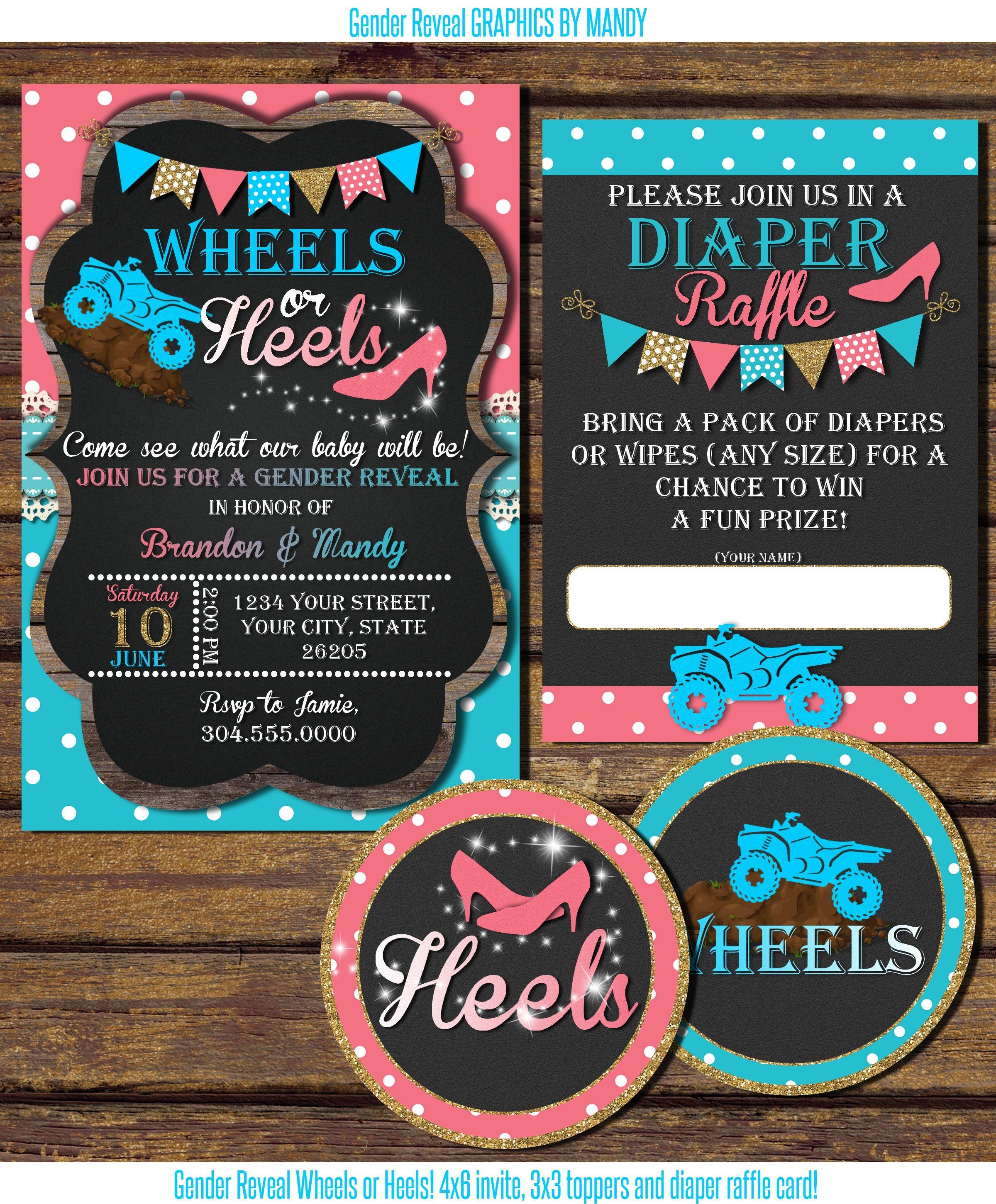Wheels Or Heels Gender Reveal Invitation And Diaper Raffle Baby Gender Reveal Party Gender Reveal Invitations Gender Reveal Themes