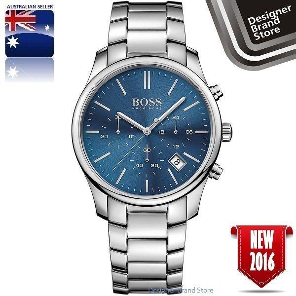 New Hugo Boss Mens Time One Watch Silver Tone S Steel Blue Dial Chrono 1513434 Montres Hugo Boss Montre Bracelet Montre