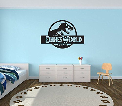 Large Personalised Jurassic World Bedroom Wall Sticker Custom - Custom vinyl wall decals dinosaur