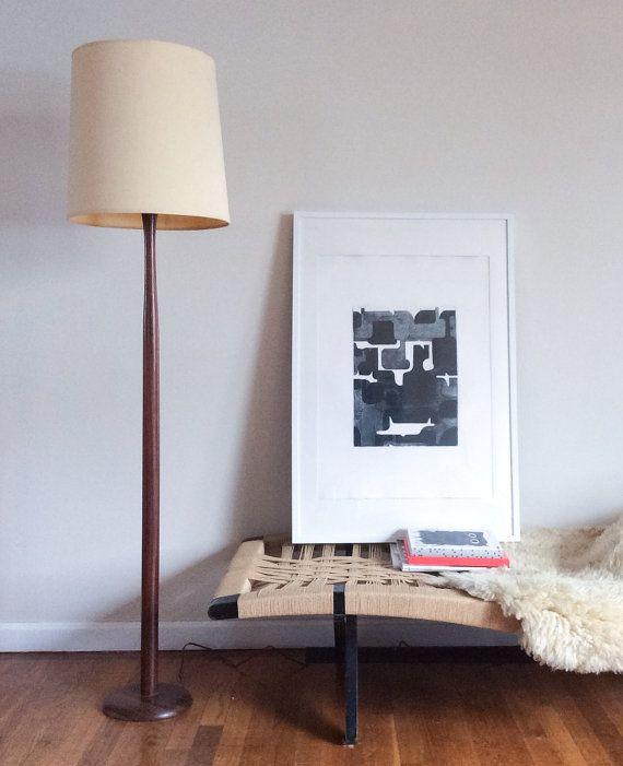 Extra Tall Turned Rosewood Floor Lamp With Original Large Drum Etsy Floor Lamp Lamp Vintage Mid Century Extra tall floor lamp