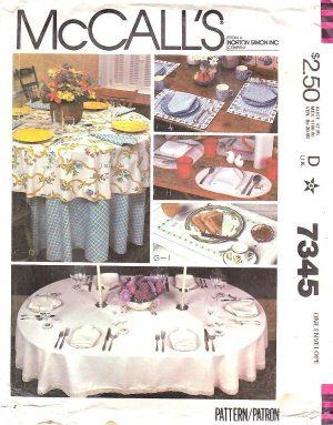 Sewing Placemats For Round Tables | McCallu0027s Sewing Pattern 7345 Table  Linen Placemats Round Oval .
