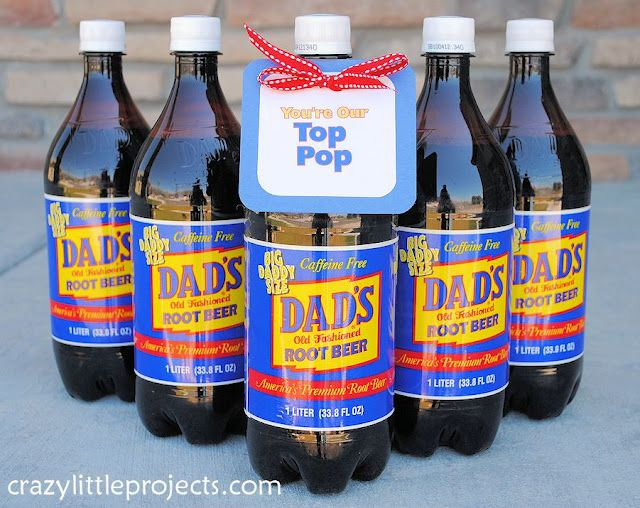 """Father's Day Gift: Dad's Root Beer with """"You're our Top Pop"""" tag (Free Printable)"""