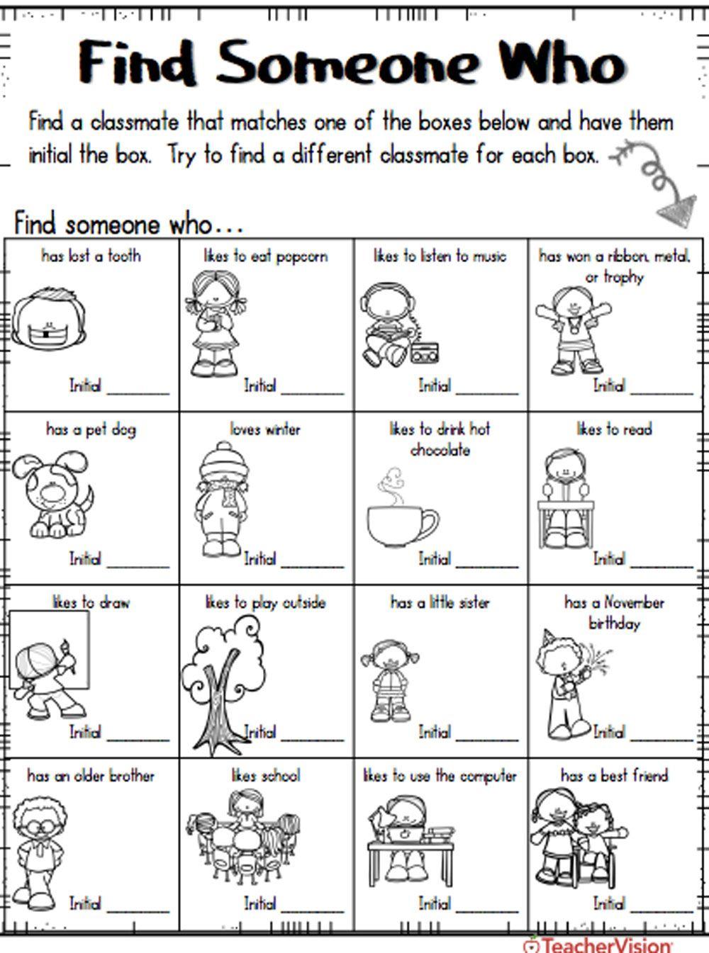 Back To School Find Someone Who Kindergarten Worksheets Kindergarten Worksheets Printable Free Kindergarten Worksheets