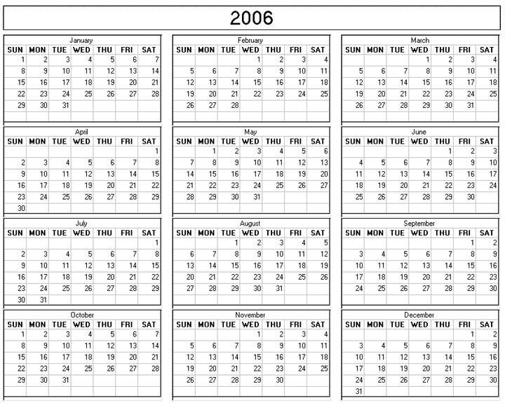 2006 Calendar Printable   printable calendars for the month or year, printable calendar, blank ...