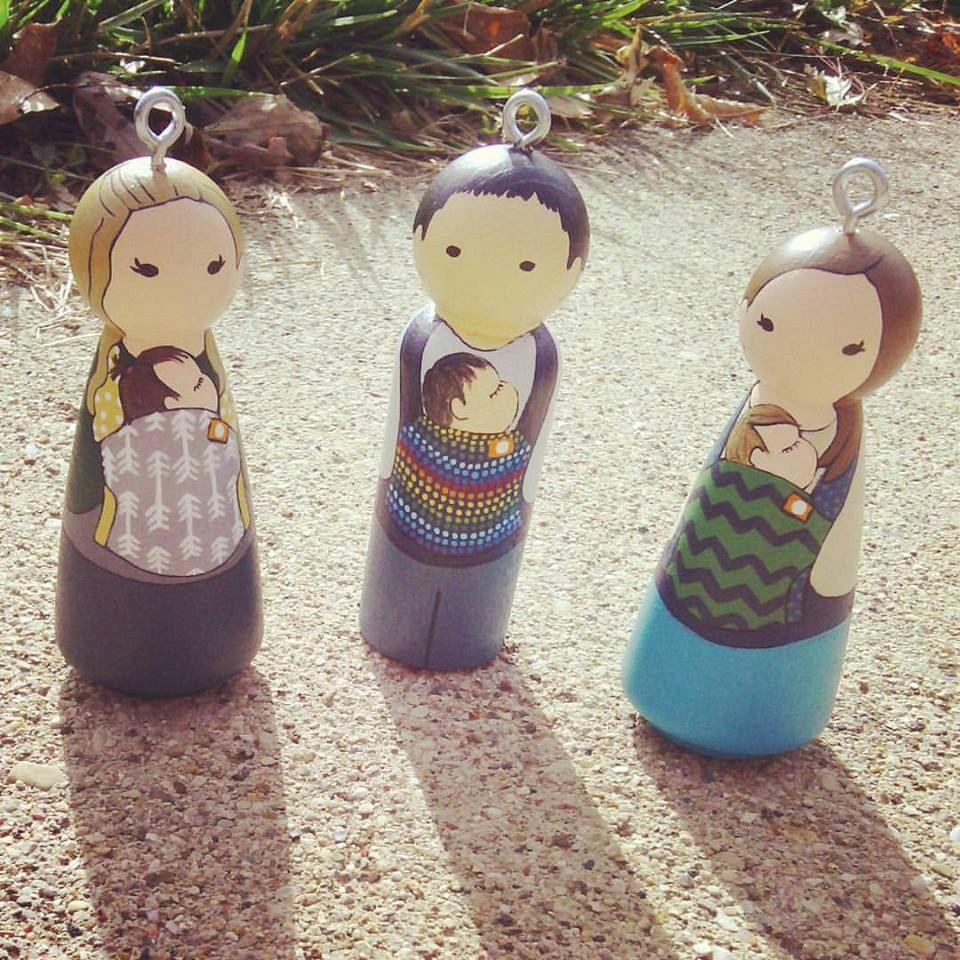 Custom Babywearing Peg Doll  Christmas Ornament  Babys First