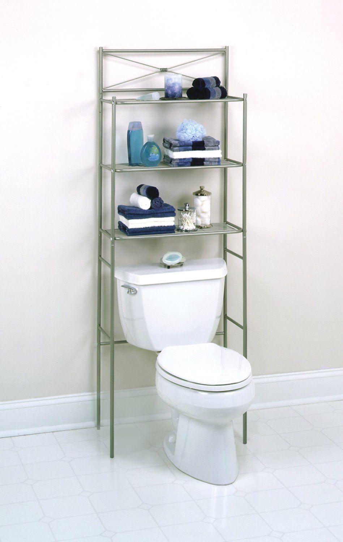 Amazon Com Cross Style Metal Spacesaver 3 Shelf Satin Nickel Home Kitchen Ba Bathroom Storage Over Toilet Bathroom Storage Shelves Over Toilet Storage