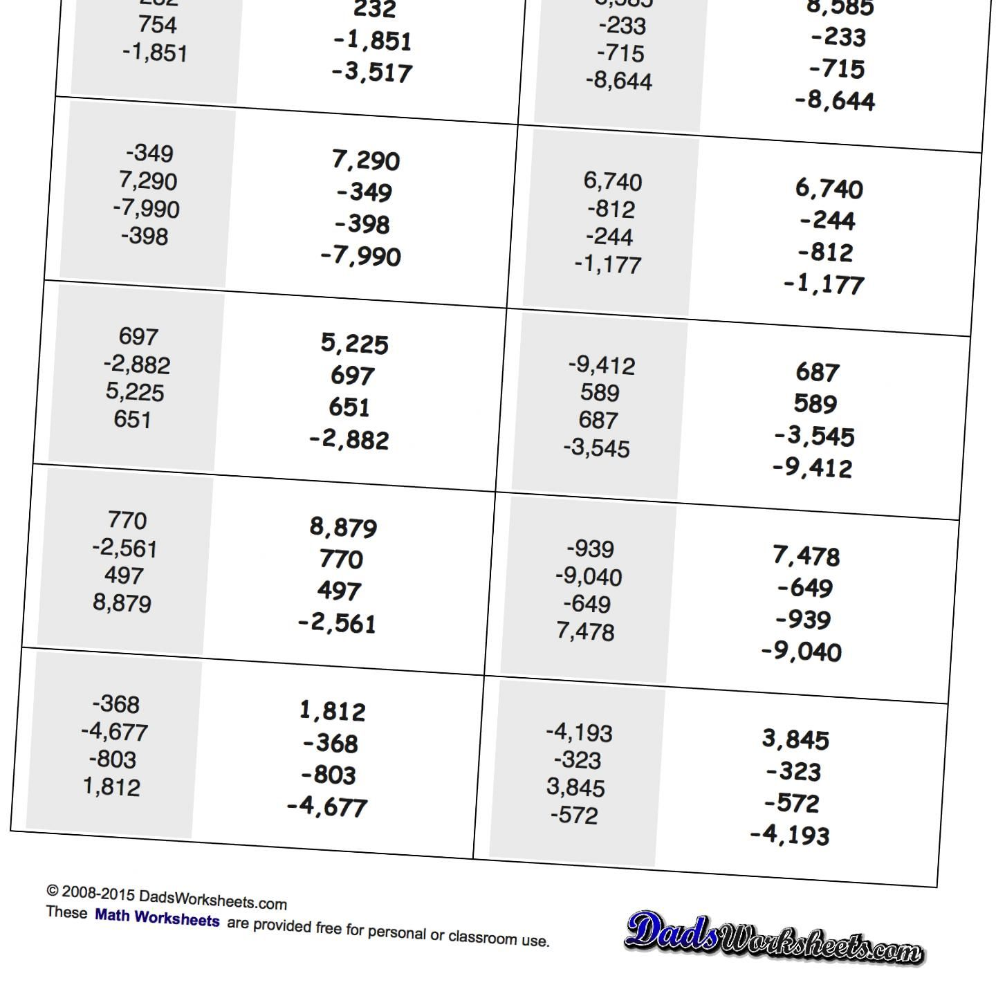 Math Worksheets Positive And Negative Mixed Place Value