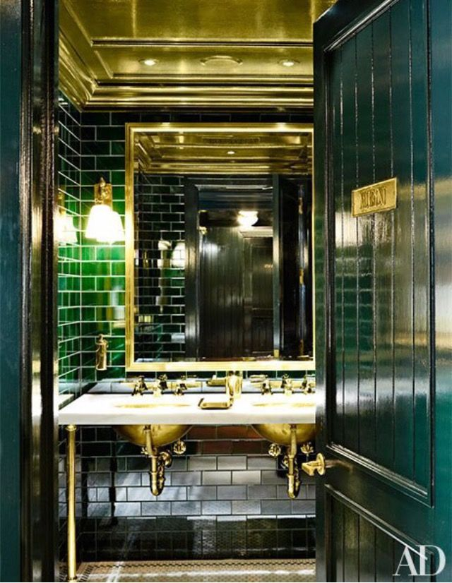 Beau Gorgeous Ralph Lauren Polo Bar Bathroom. Peacock Blue, Green And Marble  Subway Tile. Reflection And Shine From Lighting, Large Mirror And Natural  Brass On ...
