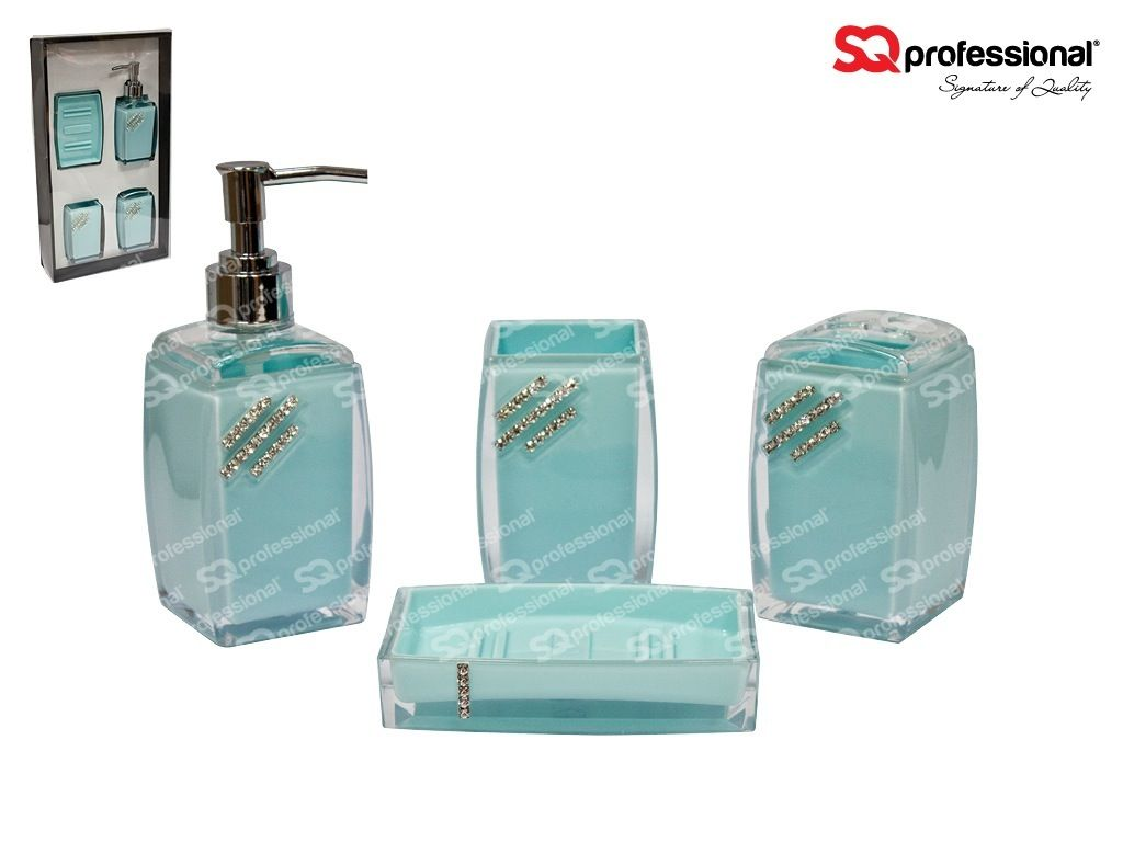 4 Piece Glass Bathroom Set Blue Liquid Soap Lotion Dispenser Tumbler