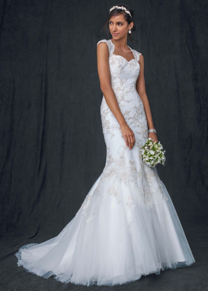 Tulle over satin cap sleeve trumpet gown davidus bridal winter