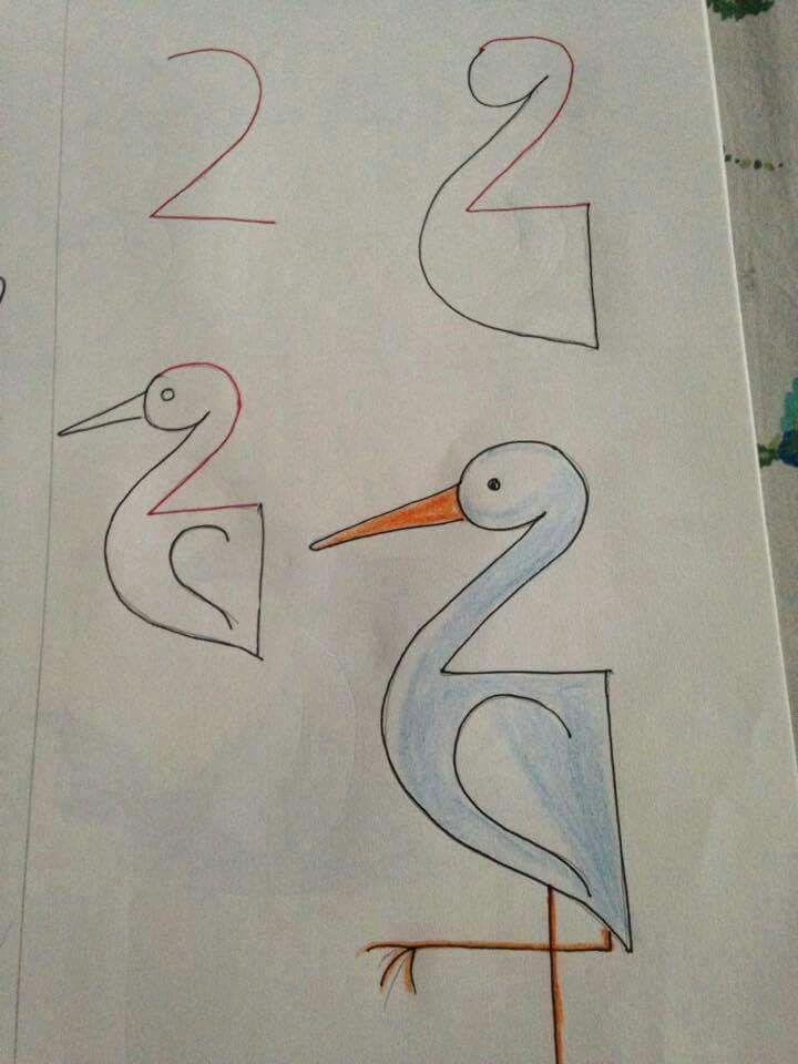Kids Drawing With Numbers Enkle Tegninger Tegneundervisning Bornekreativitet