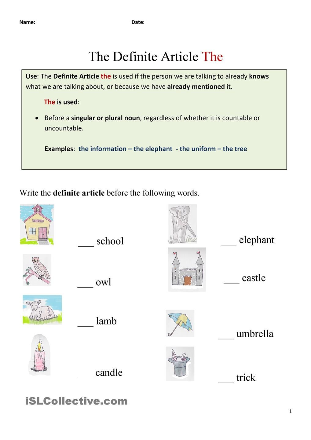 The Definite Article The english grammer exercises – Articles a an the Worksheets