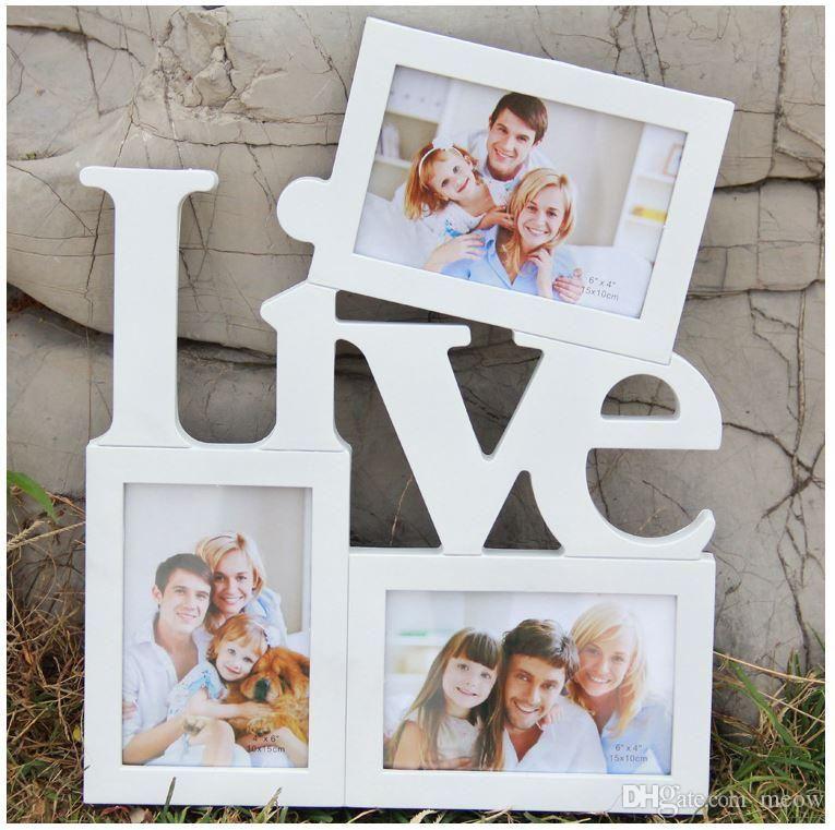 3 Bilder Frame 6 und 7 Zoll Foto Wand Family Pics White Love Live ...