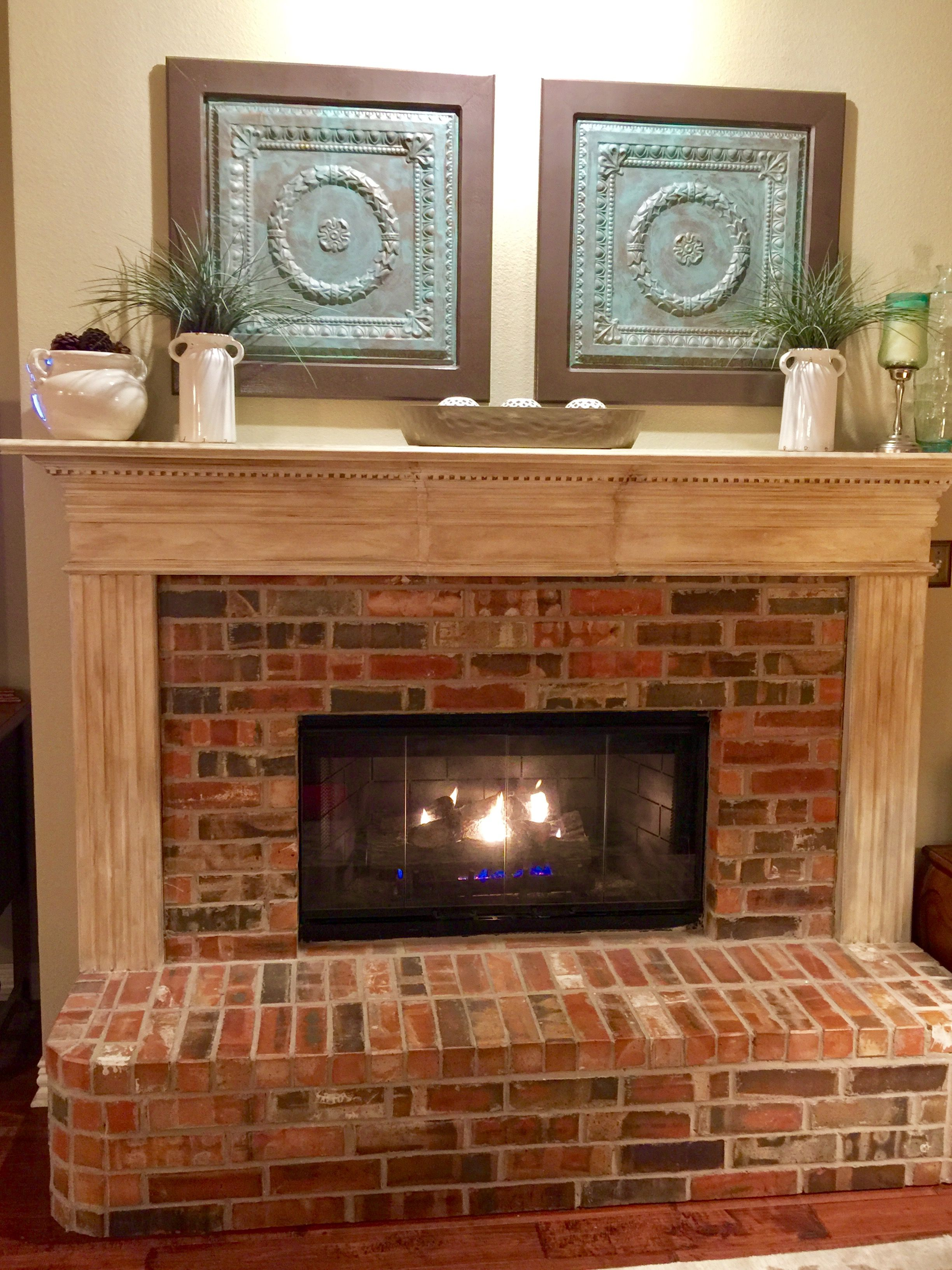 Annie sloan mantle makeover brick fireplace refurbished ceiling annie sloan mantle makeover brick fireplace refurbished ceiling tiles simple decor dailygadgetfo Gallery