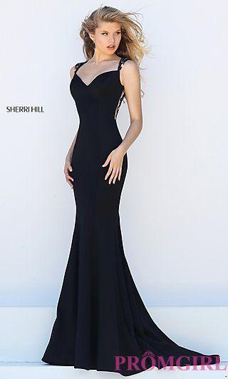 23c26b28665 Floor+Length+Classic+Sherri+Hill+Illusion+Back+Prom+Dress+at+ ...