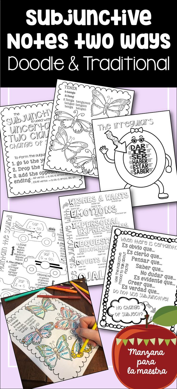 Subjunctive doodle notes for Spanish, also includes bonus ...