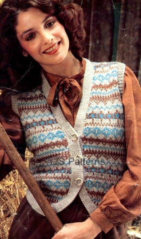 PDF Knitting Pattern for Ladies Pretty Fair Isle Waistcoat ...