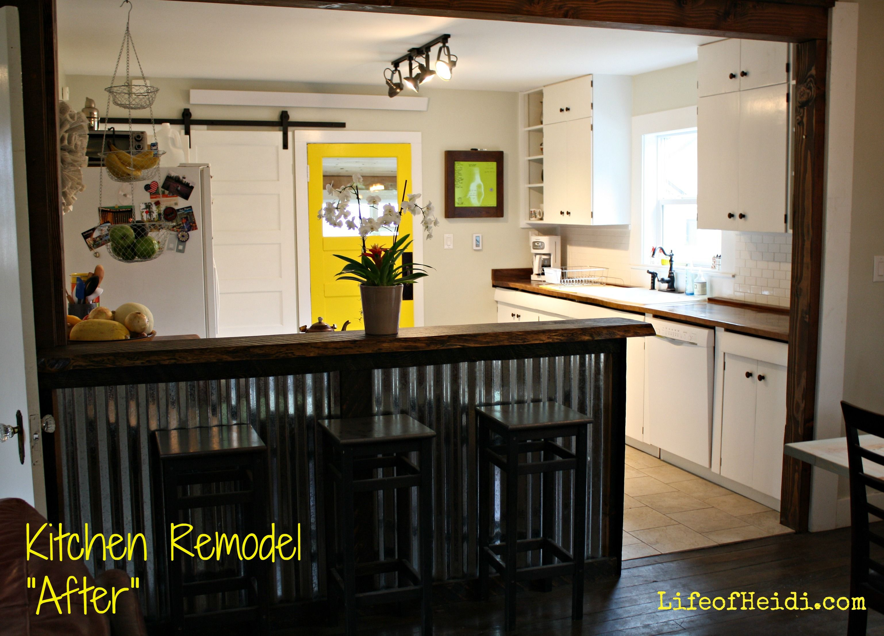 Corrugated Metal Bar With Live Edge Wood Bartop Mustard Yellow Kitchen Door White Kitchen
