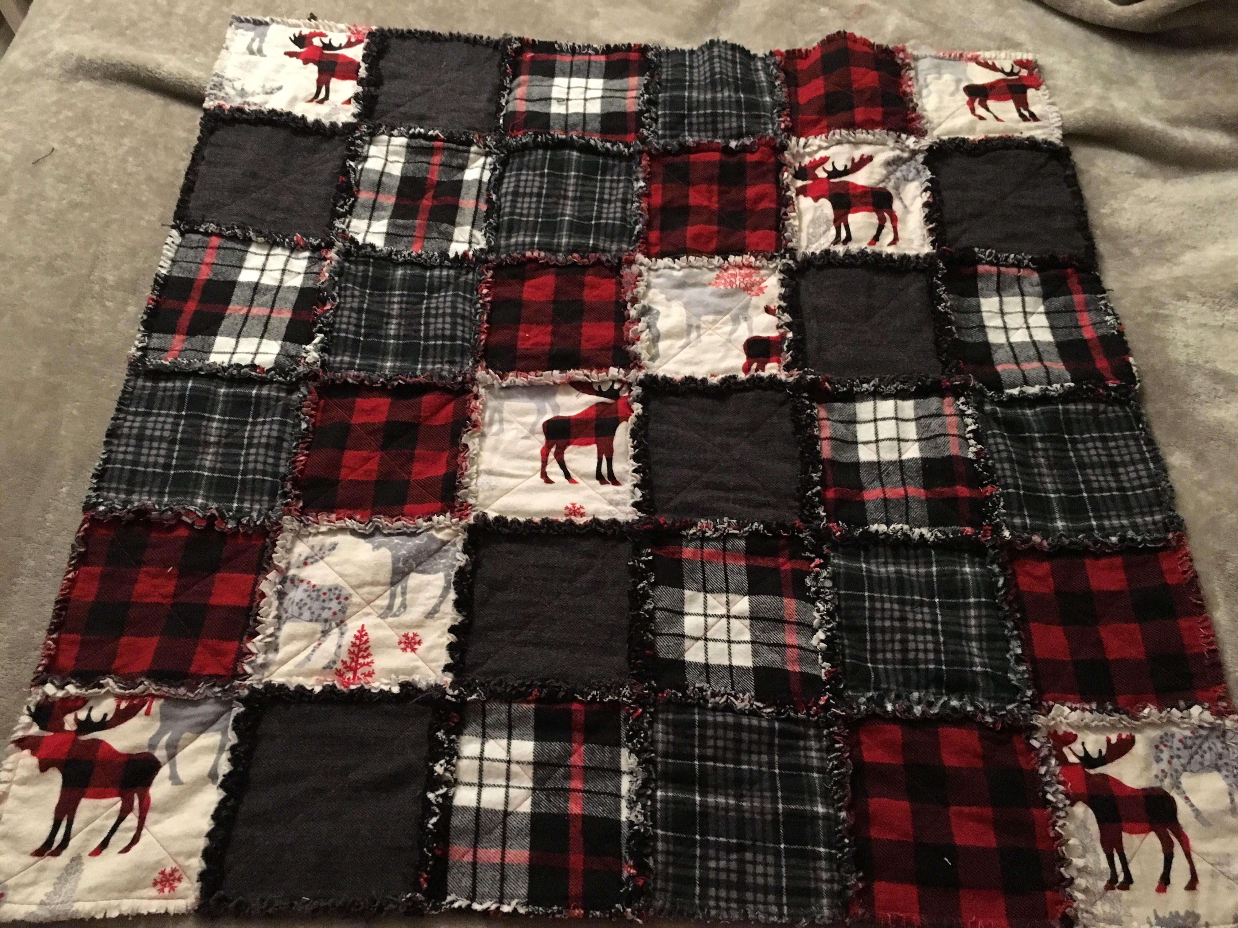Flannel Moose 6 Quot Square Quilt Rag Quilt Baby Boy