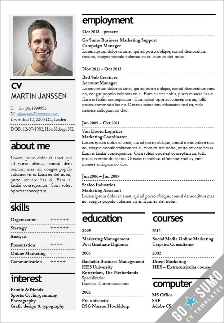 Cv Template Kopenhagen Resume Cv Template Templates Resume