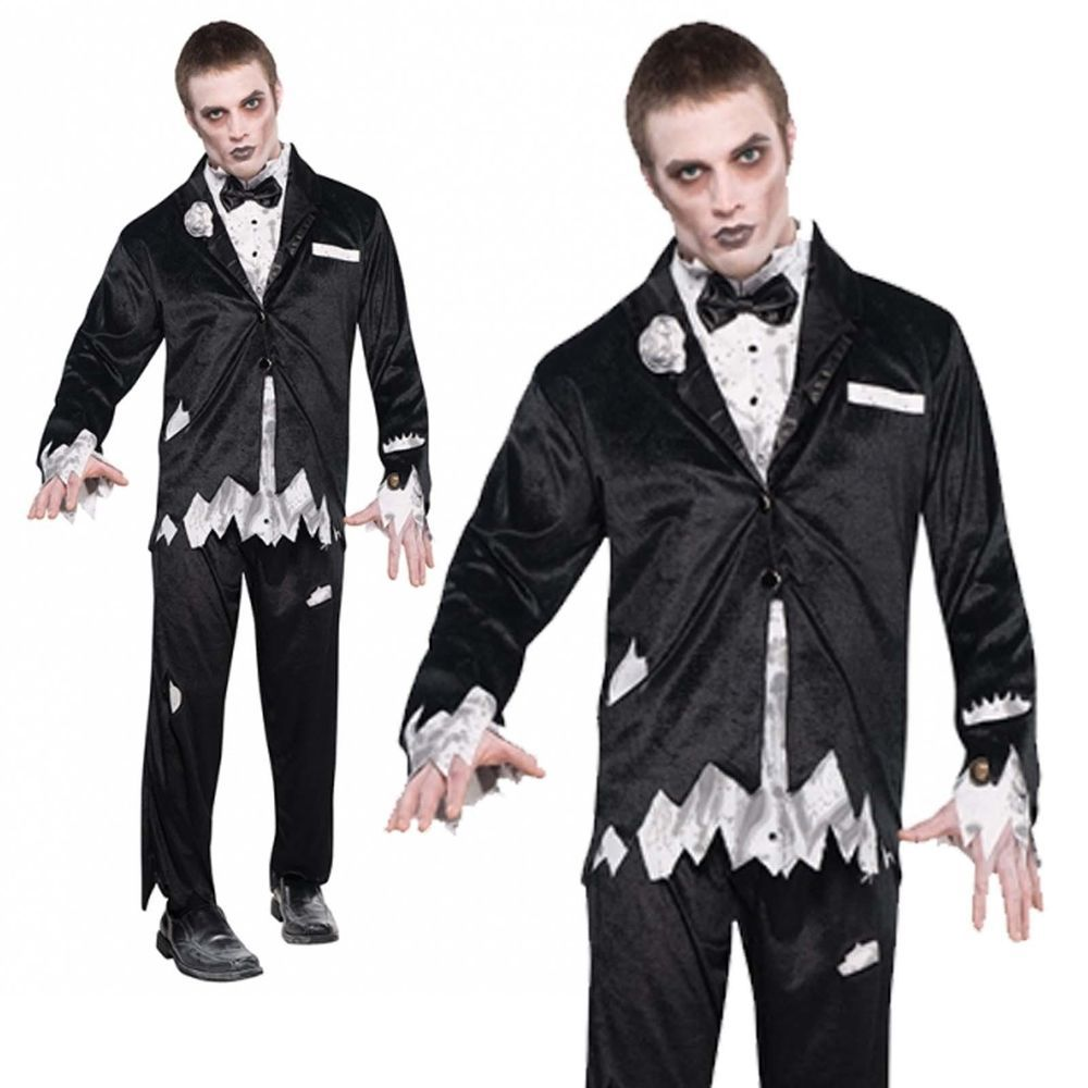 Details about Adult Mens Deadly Catch Zombie Groom Tuxedo ...