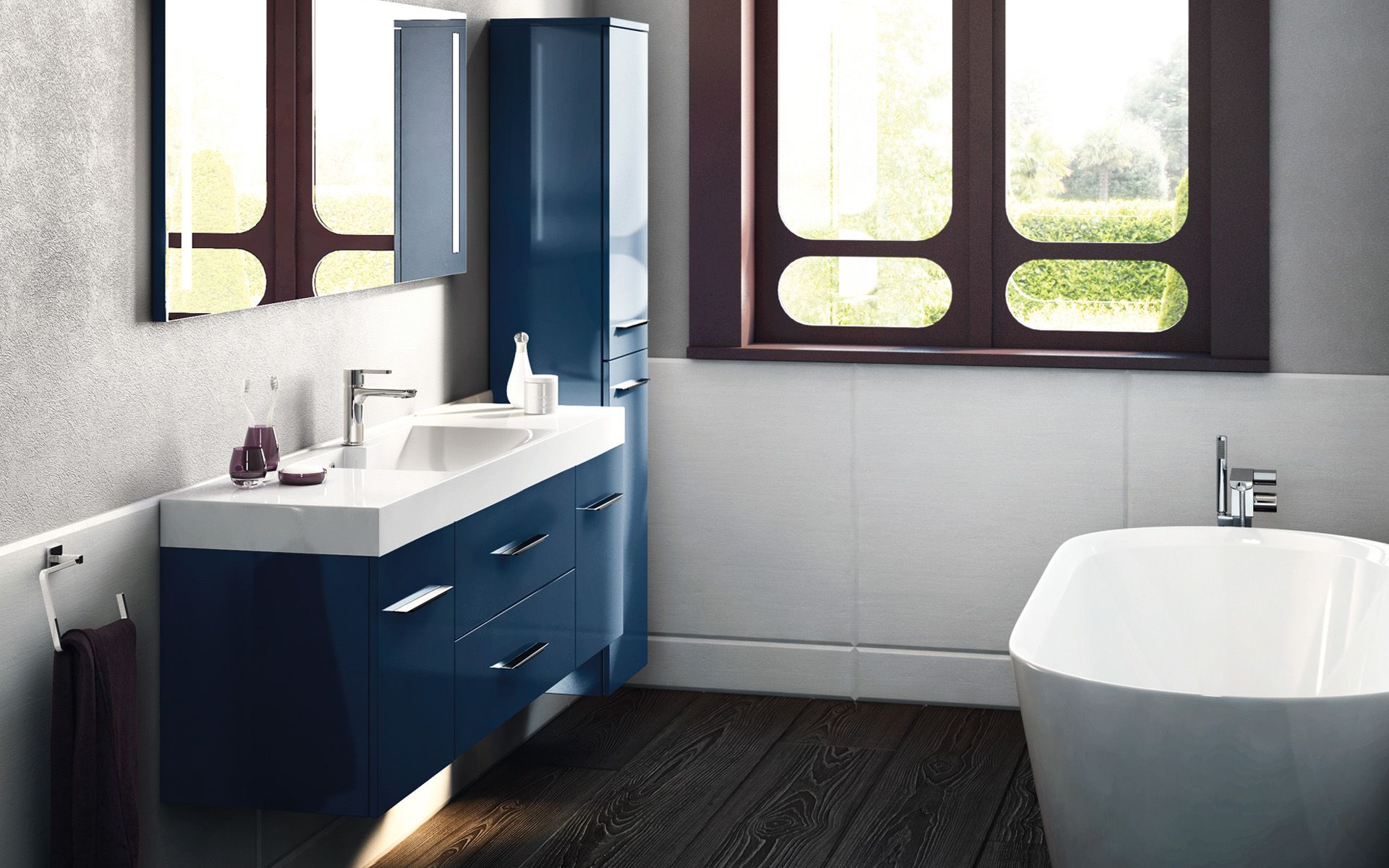 decotec obbo meuble salledebain blue bleu blue. Black Bedroom Furniture Sets. Home Design Ideas