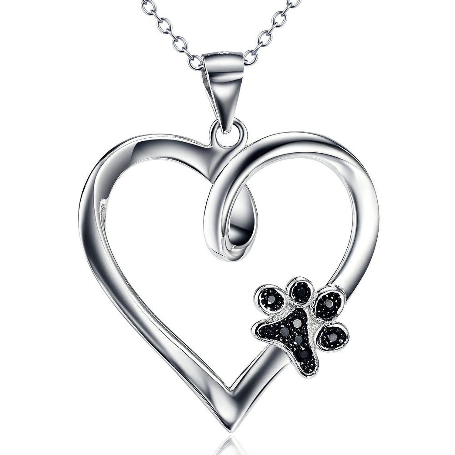 Silver Mountain 925 Sterling Silver Pet Paw Print Heart Cubic Zirconia Pendant Necklace, 18