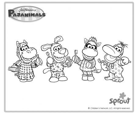 Pajanimals brushing teeth the pajanimals coloring pages pbs kids sprout