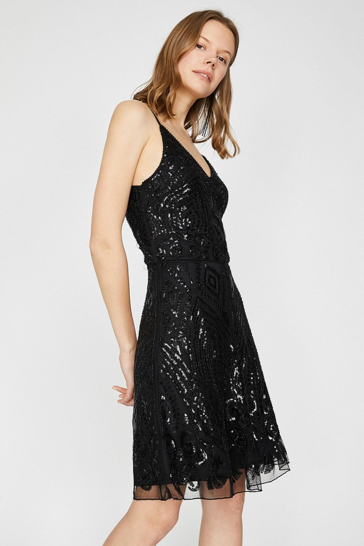 Koton Askili Pul Detayli Gumus Rengi Mini Abiye Elbise Elbisebul Elbise The Dress Moda Stilleri