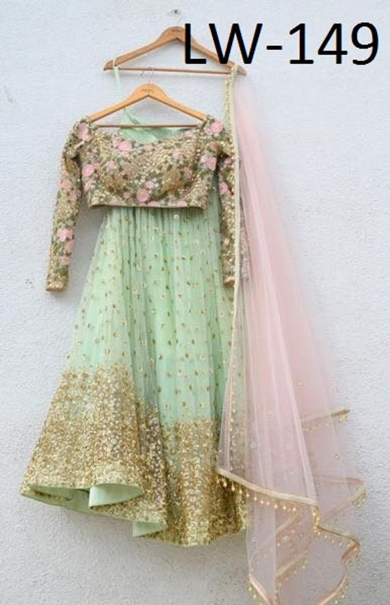 bf3bffde42 Mint green and powder pink net with sequins work Embroidered lehenga choli  Indian Wedding Wear