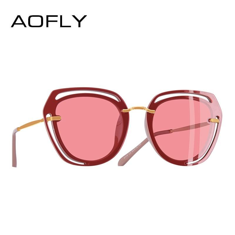 8c596661991 AOFLY BRAND DESIGN Square Sunglasses 2018 Fashion Hollow Out Frame  Polarized Sunglasses Women Shades A119
