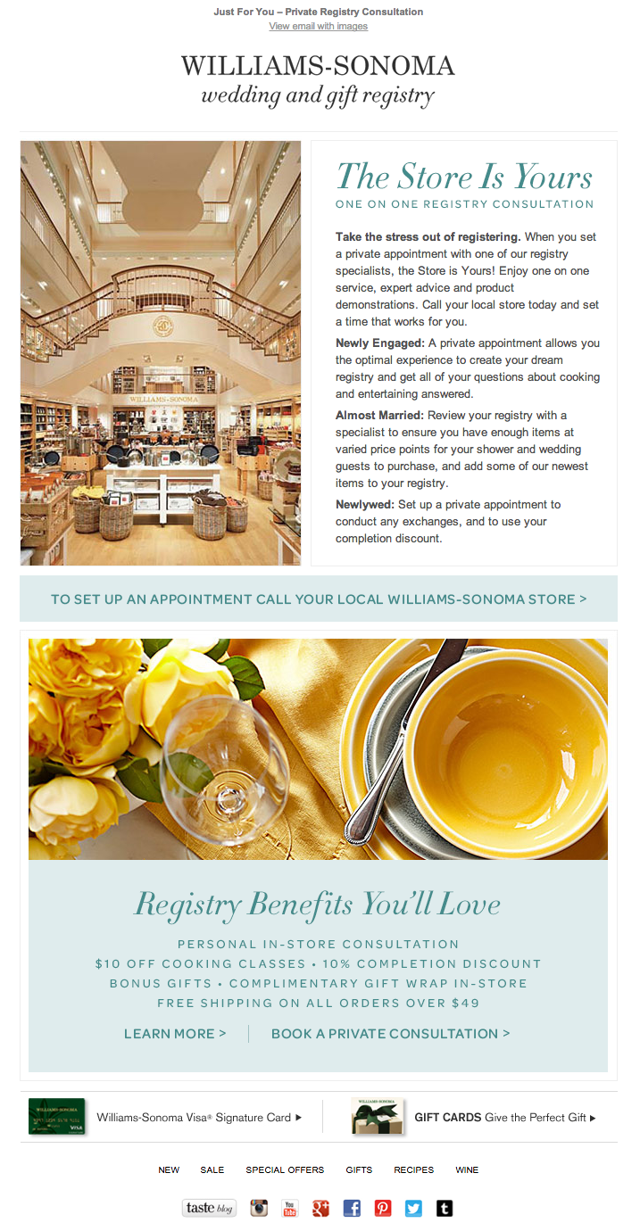 William Sonoma Wedding Registry Email 2014 Williams Sonoma Wedding Registry Wedding Registry Email Marketing Design
