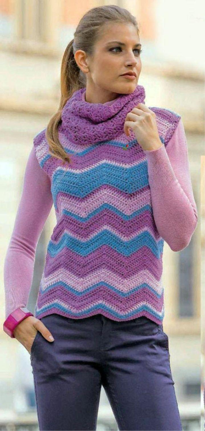 Sleeveless Sweater Crochet Pattern | Crochet | Pinterest | Chalecos ...
