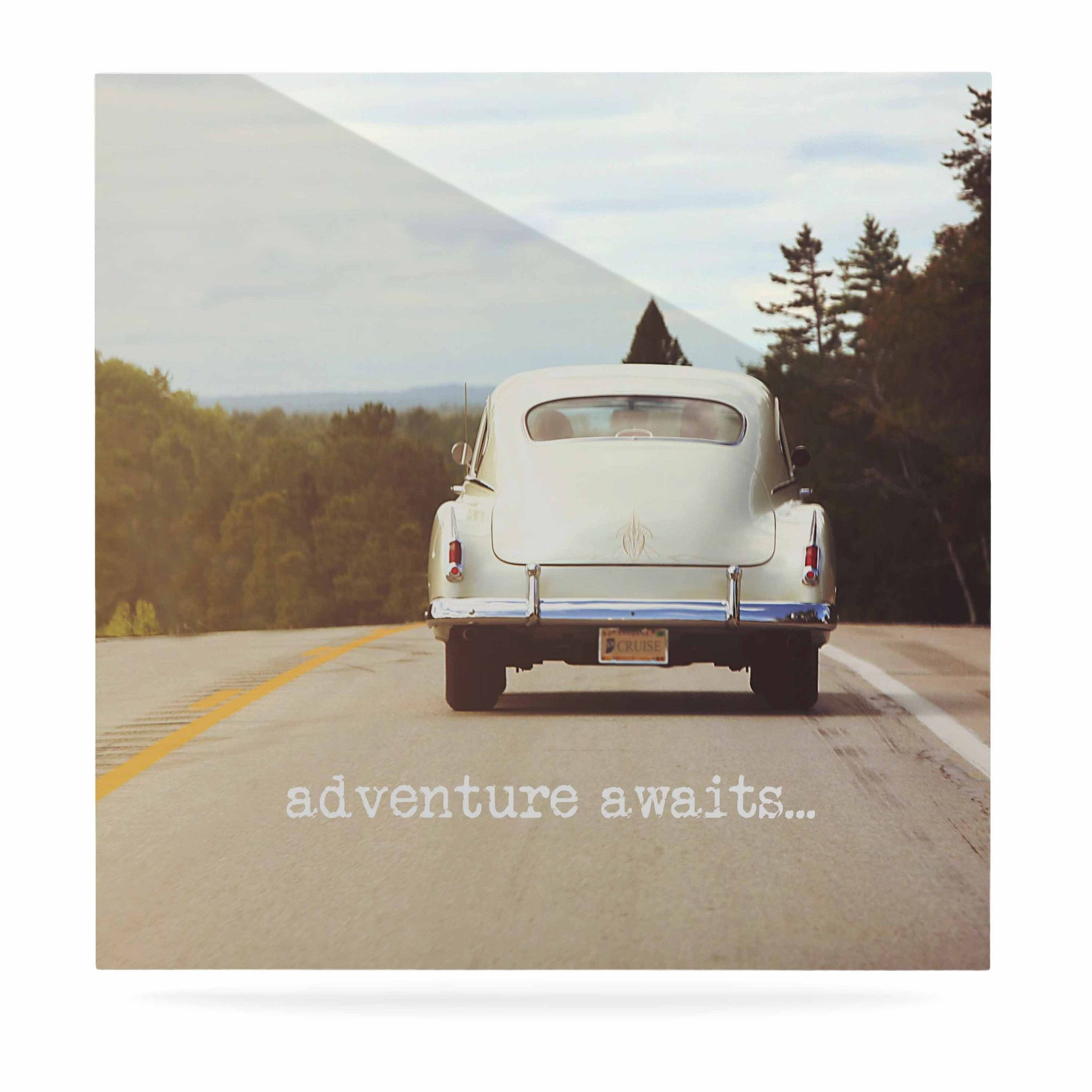 """Angie Turner """"Adventure Awaits"""" Green Gray Luxe Square Panel"""