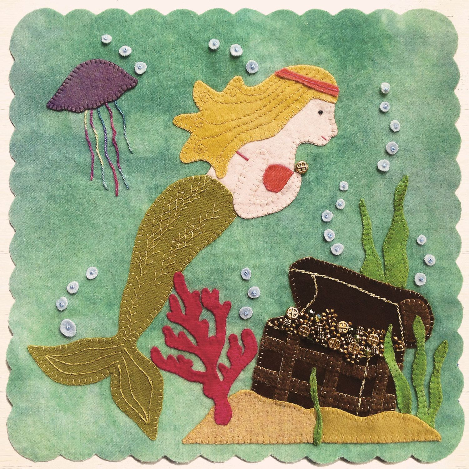 """PATTERN - """"Mermaid's Treasure"""" Block of the Month wool applique' quilt block or table mat. by betsyloupatterns on Etsy"""