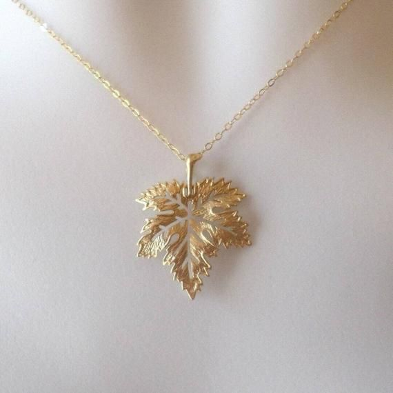 Maple Leaf Necklace, Silver or Gold Maple Leaf Nec