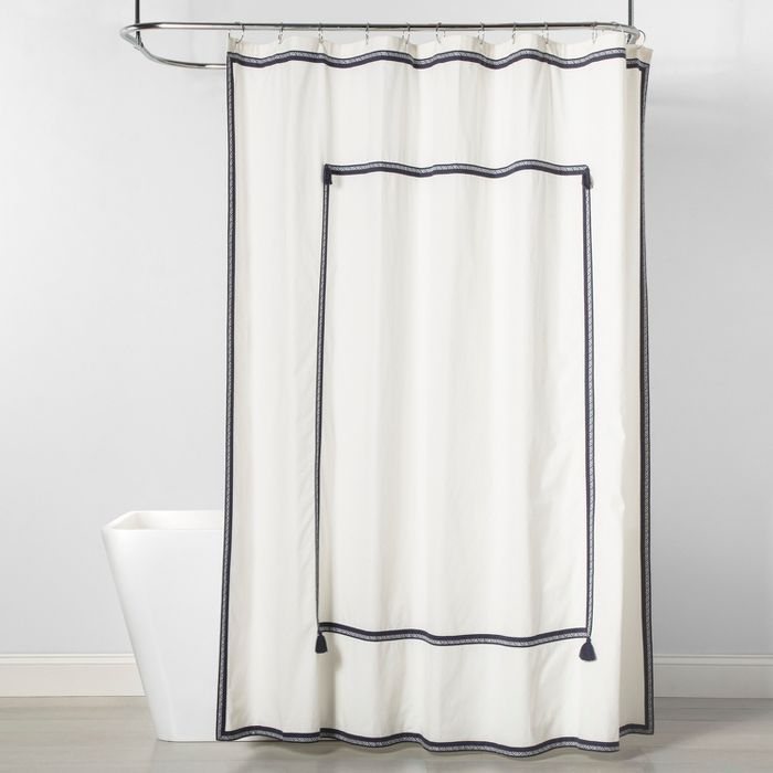 Frame Border Shower Curtain Navy White Threshold With Images