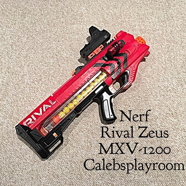 Right side of a custom painted Nerf Zeus Rival blaster.
