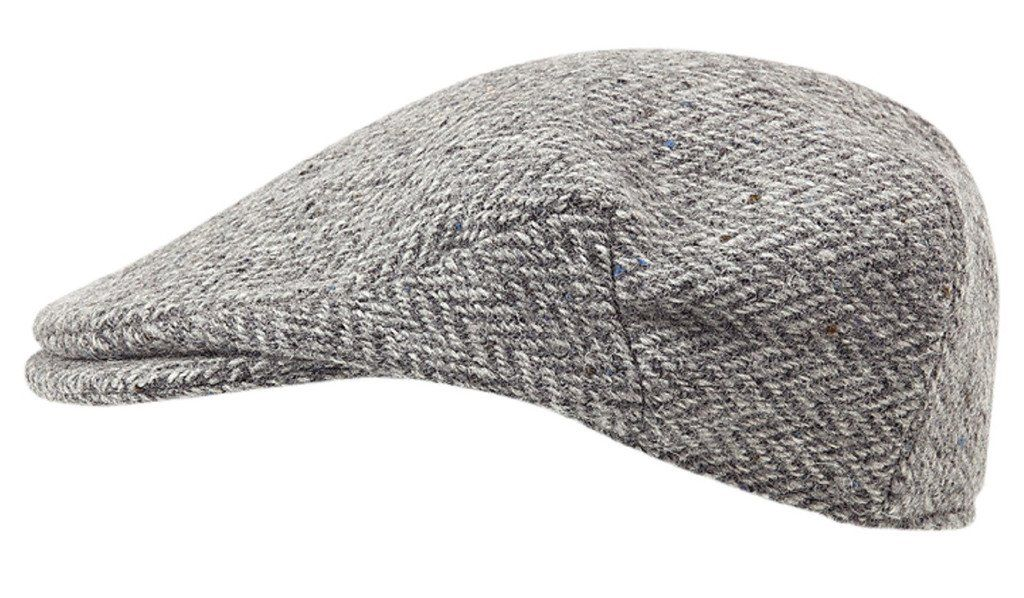 100% Handmade Handwoven Tweed - Irish Flat Cap - Silver Grey Herringbone -  made by Hanna Hats b9dc8e4387ef