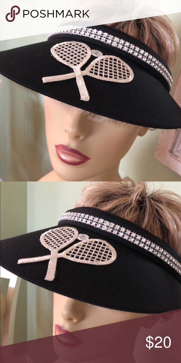 Ladies Black Tennis Sun Visor Hand crafted ladies black sun visor decorated  with a large silver tennis appliqué and a double row of rhinestone trim  around ... 381db46cd63