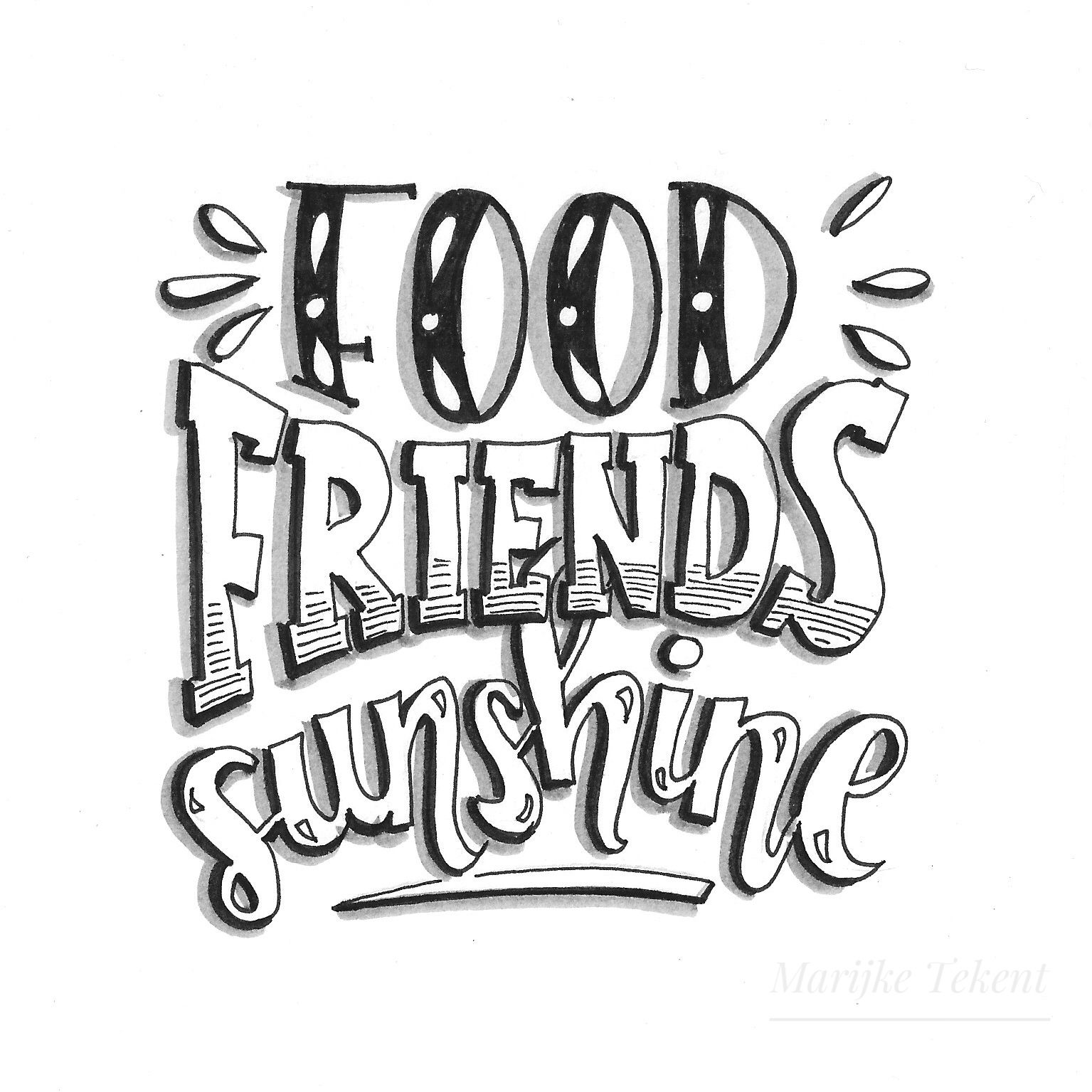 Handlettering, lettering, quote, food, friends Www