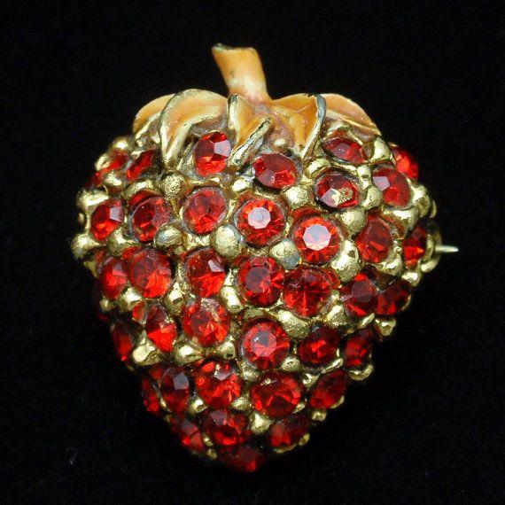 Rhinestone Studded Strawberry Fruit Brooch Pin
