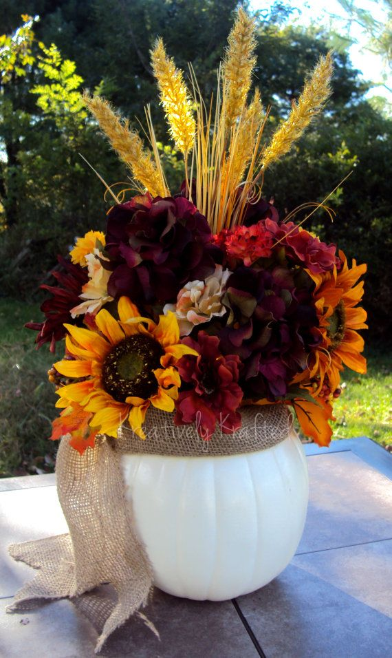 Cream White Pumpkin And Burlap Fall Centerpiece Table