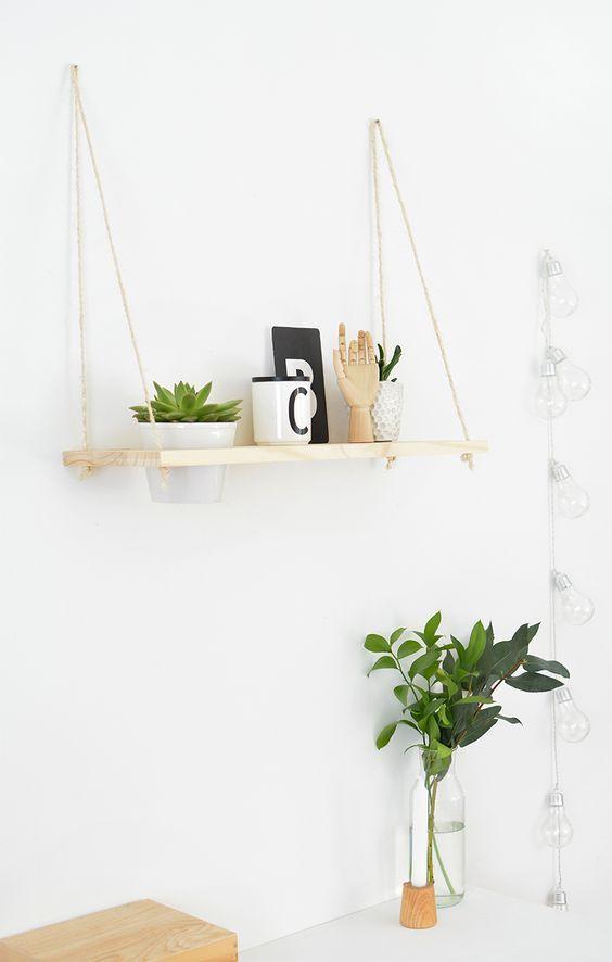 Diy Hanging Plant Shelf Diy Hanging Shelves Diy Decor Projects Plant Shelves