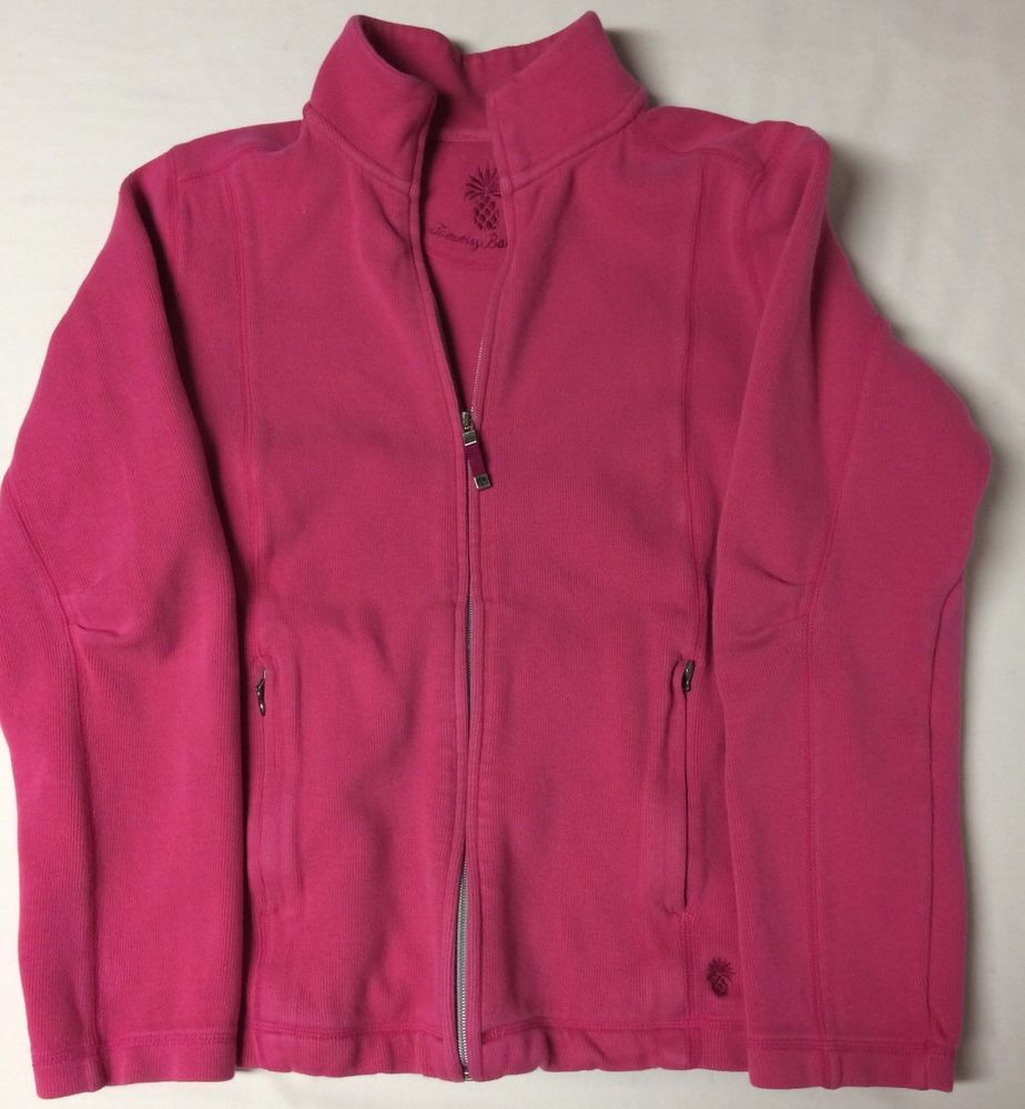 Details about Tommy Bahama Womens Large Pink Sweater Jacket Zipper ...