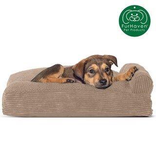 FurHaven Pet Bed   Faux Fleece & Corduroy Chaise Lounge Pillow Dog Bed